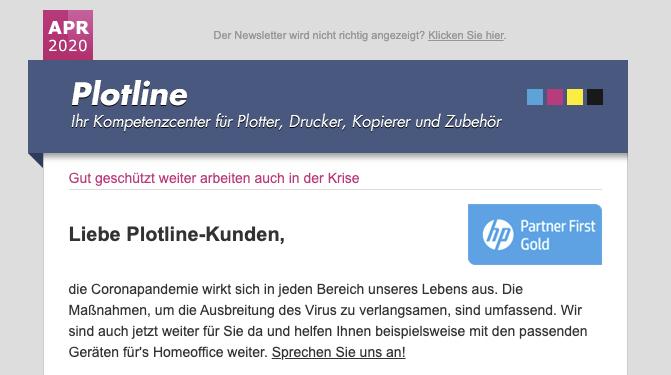 Newsletter Plotline Supplies – Graugans Werbeagentur
