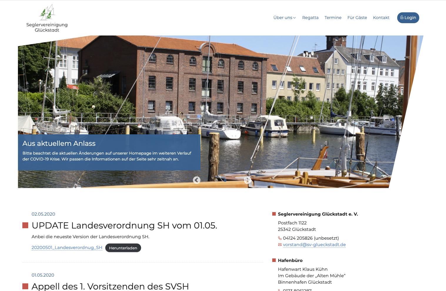 Neue Website für die Seglerververeinigung Glückstadt