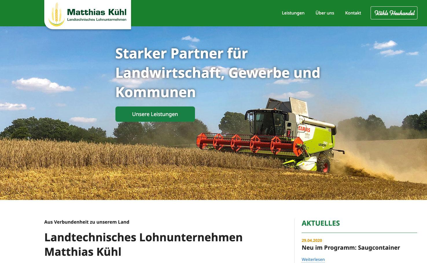 Website für das Lohnunternehmen Kühl
