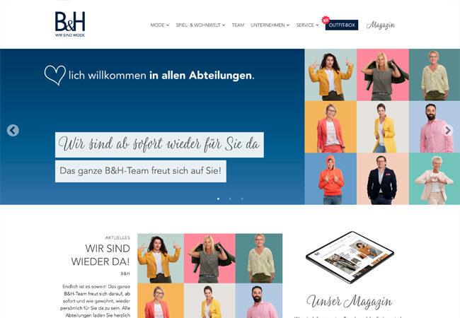 Website B&H – Graugans Werbeagentur