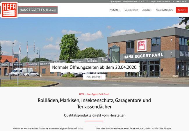 Website HEFA – Graugans Werbeagentur