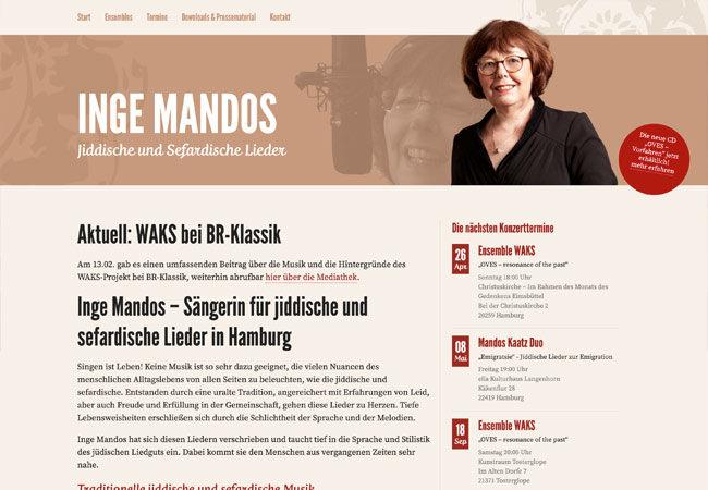 Website Inge Mandos – Graugans Werbeagentur