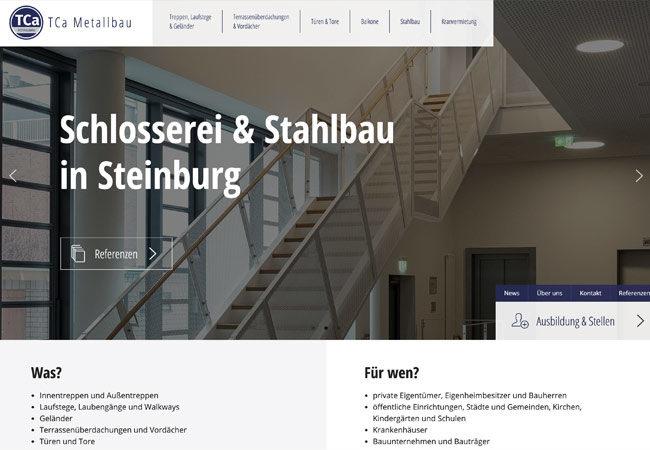 Website T+Ca Metallbau – Graugans Werbeagentur
