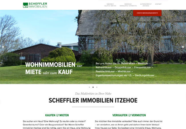 Website von Scheffler Immobilien