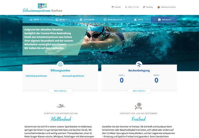 Website des Schwimmzentrum Itzehoe