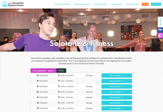 Website der Tanzschule Giesen