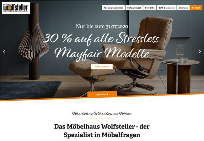 Website vom Möbelhaus Wolfsteller